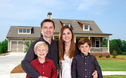 Family happy with house purchase.